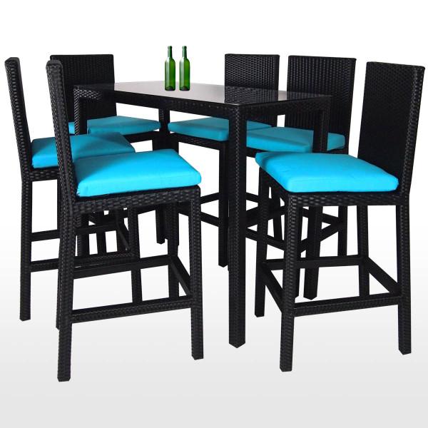 Midas Long 6 Chair Bar Set Blue Cushion 2 Year Warranty Furniture Home D Cor Fortytwo