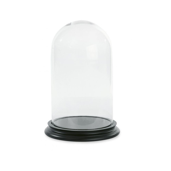 Ms Etoile - BE020 Small Glass Bell Jar Dome With Black Wooden Base
