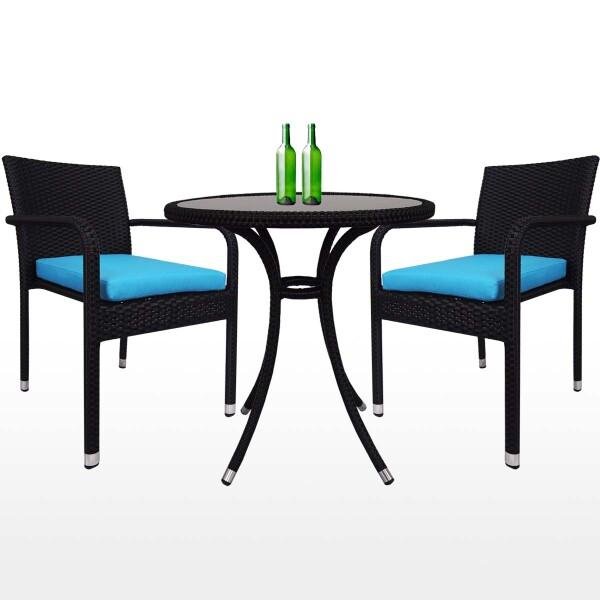 Balcony 2 Chair Bistro Set Blue Cushion