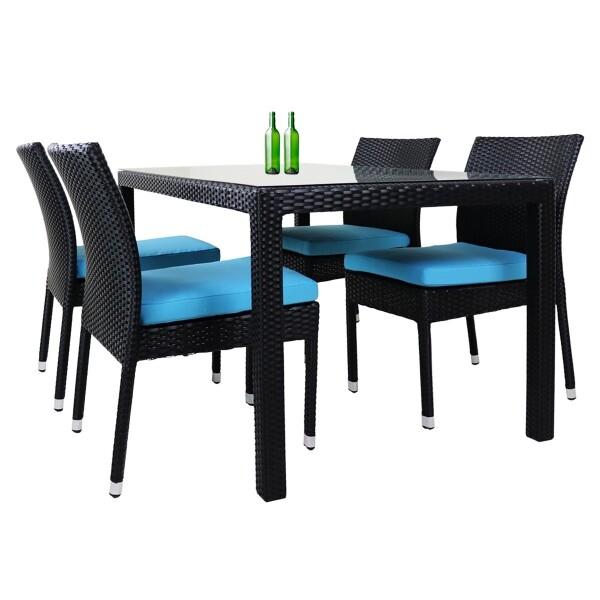 Casa 4 Chair Dining Set Blue Cushion