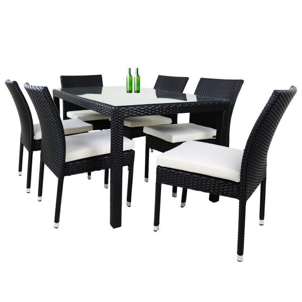Casa 6 Chair Dining Set White Cushion