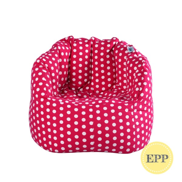 Chilla Fabric Bean Bag Chair (Pink with Polka Dots, EPP beans filling)