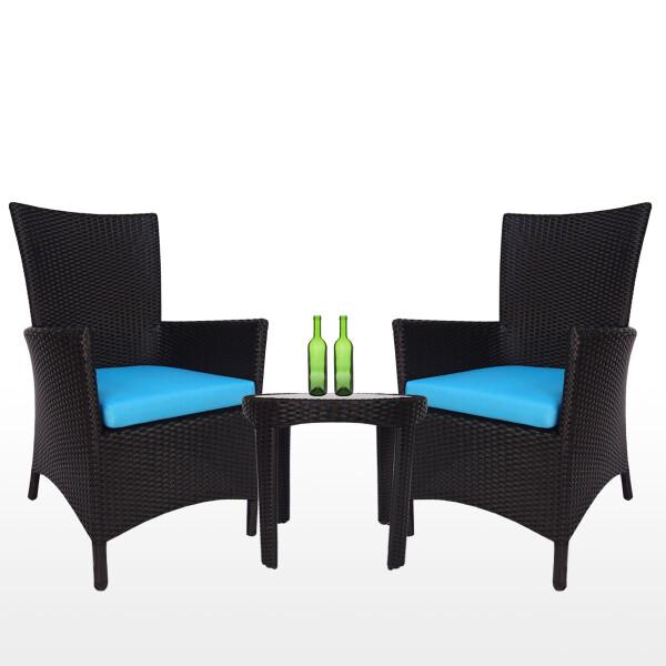 Costa Patio Set, Blue Cushions