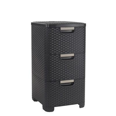 Curver rattan style 3 drawer dark brown furniture home for Ladenblok trolley