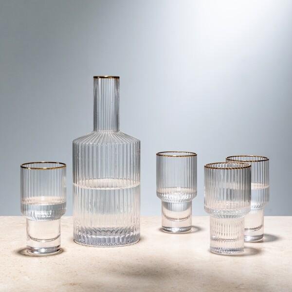 Cesar Carafe & Drinking Glasses Set (Clear/Gold Rim)