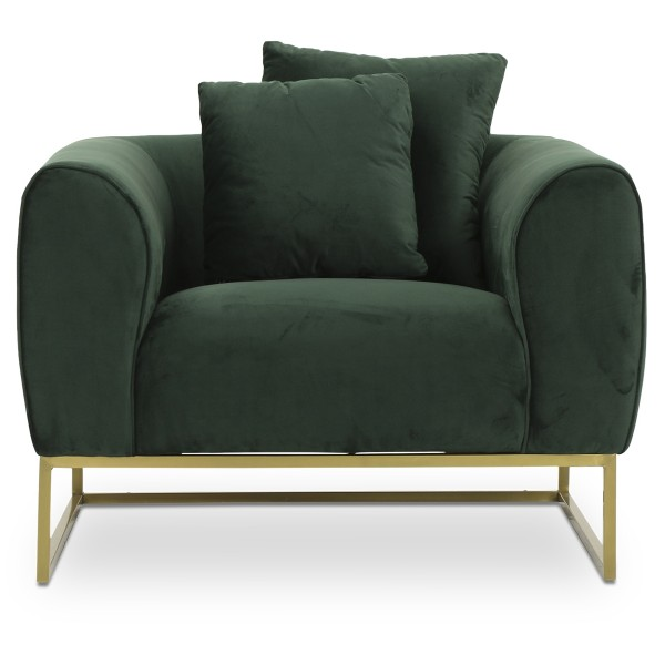 Marican 1 Seater Velvet Sofa in Green