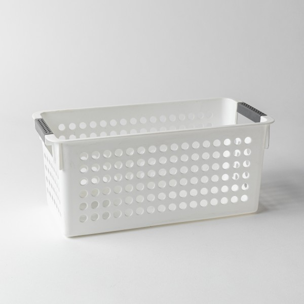 Torie Deep Storage Basket W/ Round Holes M (White)