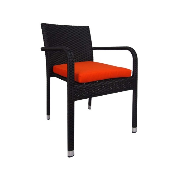 Jardin Outdoor Dining Chair with Orange Cushion
