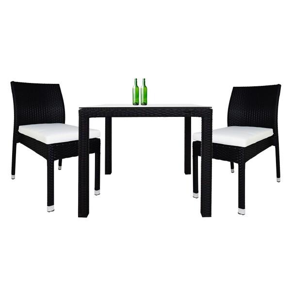 Monde 2 Chair Dining Set White Cushion