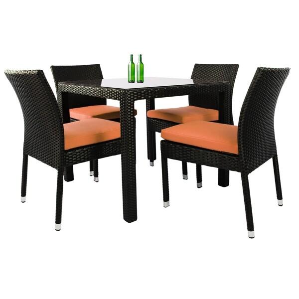 Monde 4 Chair Dining Set Orange Cushion