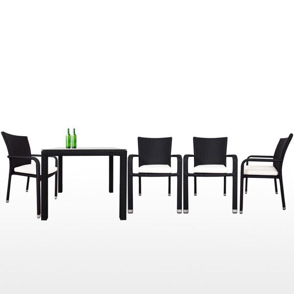 Palm 4 Chair Dining Set, White Cushion