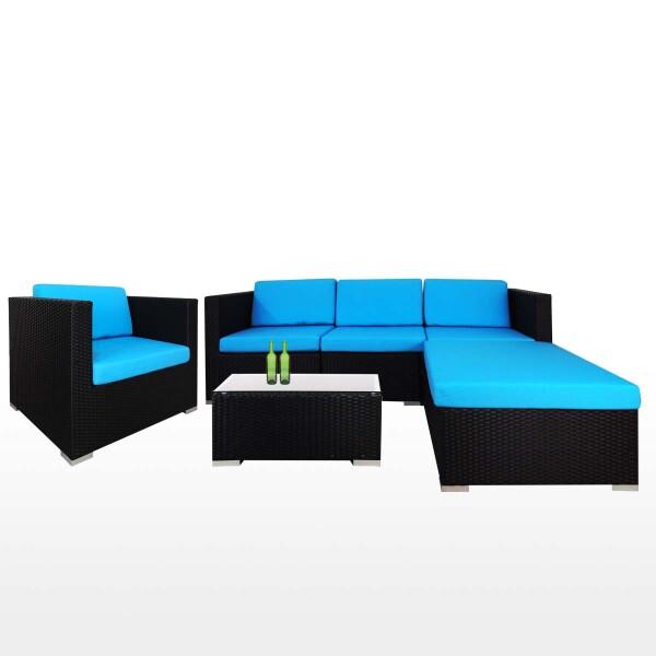 Summer Outdoor Modular Sofa Set II Blue Cushions
