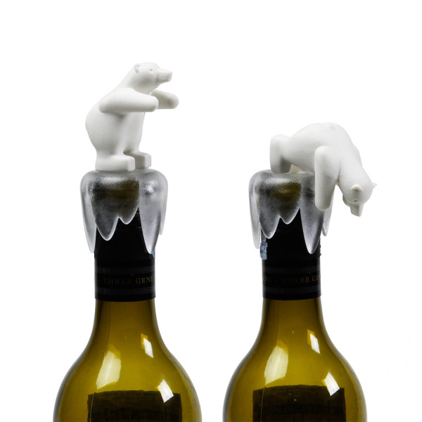 Bottoms Up Bear Bottle Stopper (White) by Qualy