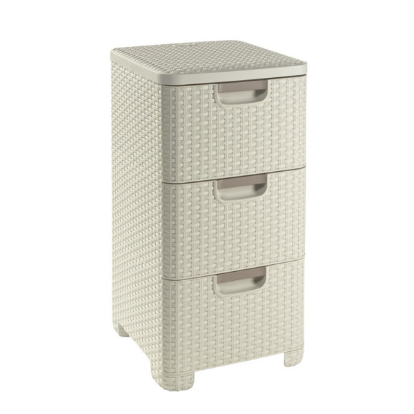 Curver Rattan Style 3 Drawer Off White