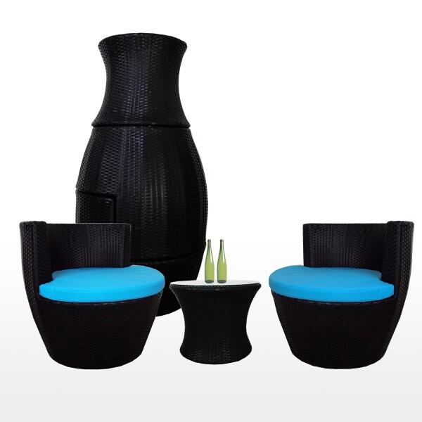 Stackable Patio Set, Blue Cushions
