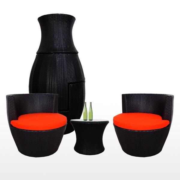 Stackable Patio Set, Orange Cushions