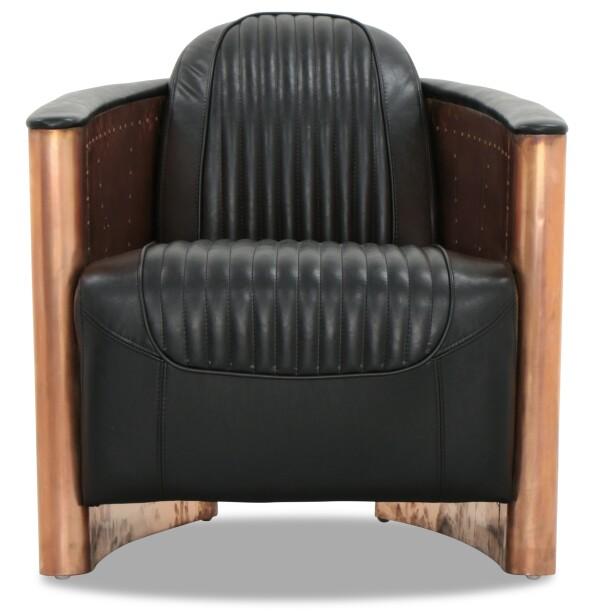 Aviator Replica Armchair Black PU Leather (Copper Gold)
