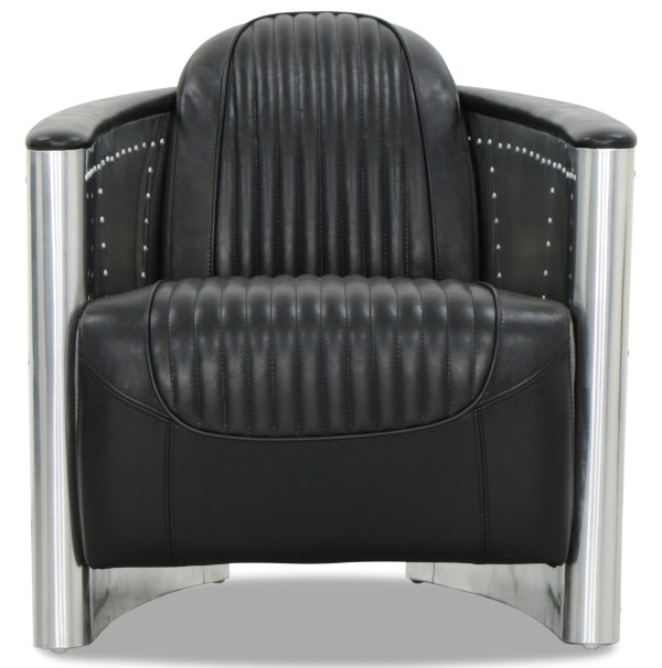 Aviator Replica Armchair Black PU Leather (Aluminium Silver)