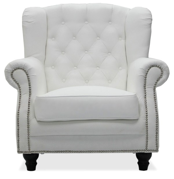 Genma Classical White PU Leather Arm Chair