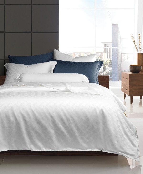 FyneLinen Egyptian Cotton 900TC Jacquard Kensington Bed Set (White)