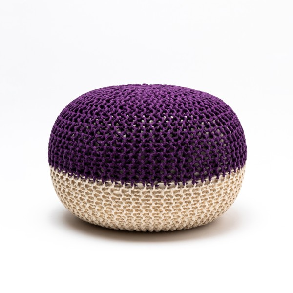 Tumelo Knitted Pouffe (Violet/Beige)