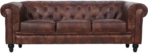 Benjamin Classical 3 Seater Old PU Leather in Brown