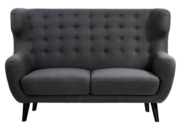 Replica wingback designer 2 seater sofa charcoal for Designer sofa replica