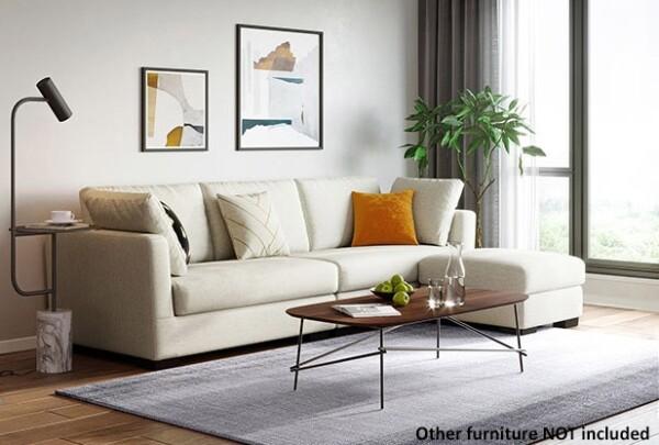 Corvina 4-Seater Sofa with Ottoman (Cream)
