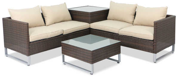 Royal Synthetic Rattan Outdoor Sofa Set with Storage Box (Brown)