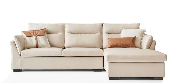Trasar L-Shape Sofa Rest Section on Left when seated (Cream)