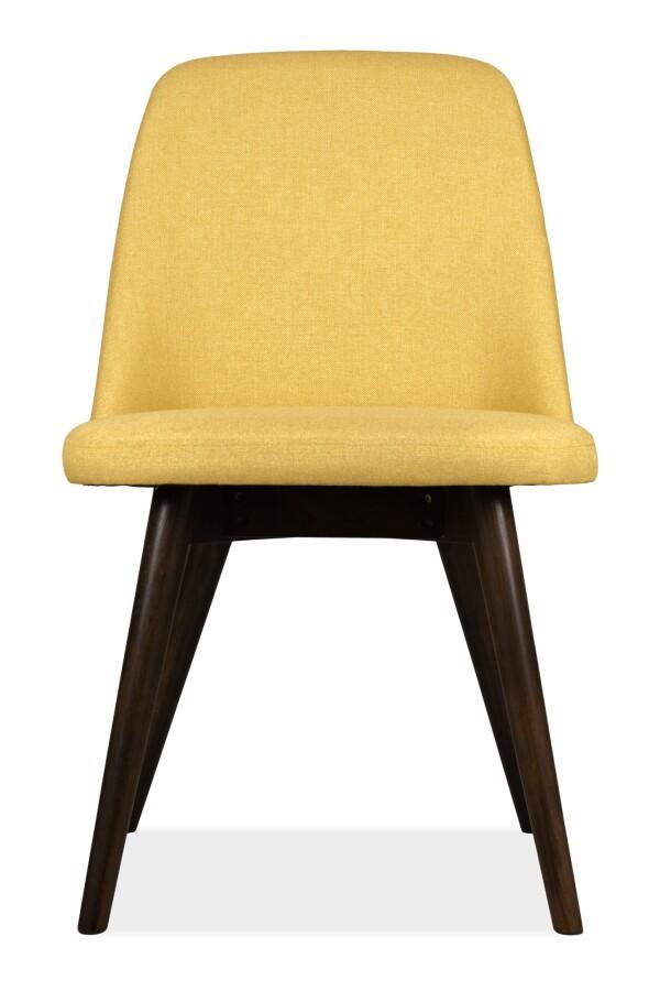 Hera Dining Chair Walnut with Yellow Cushion