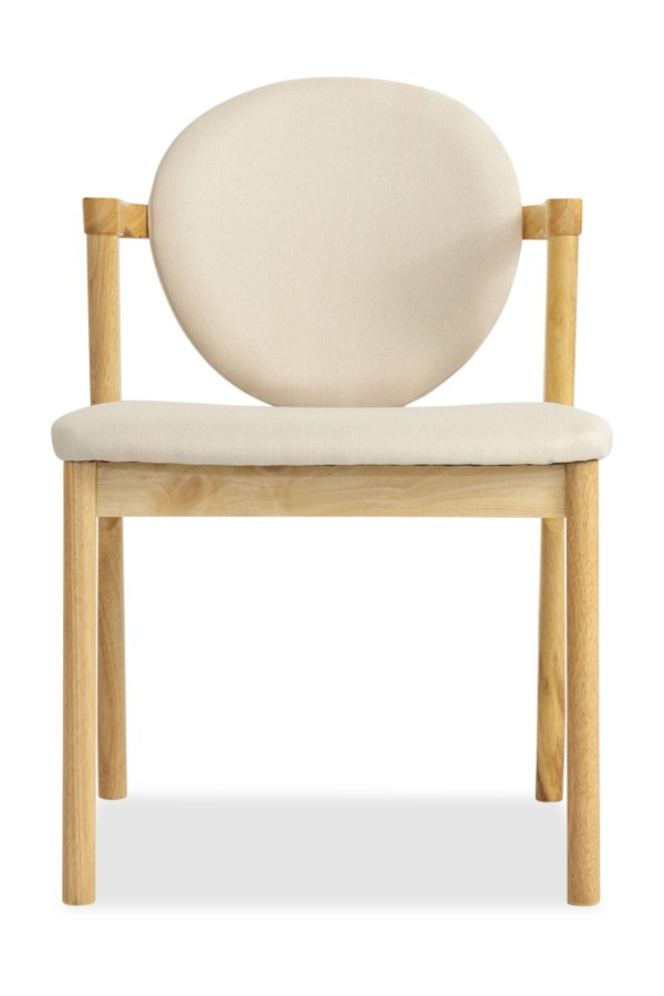 Ronny Dining Chair Natural with Cream Cushion