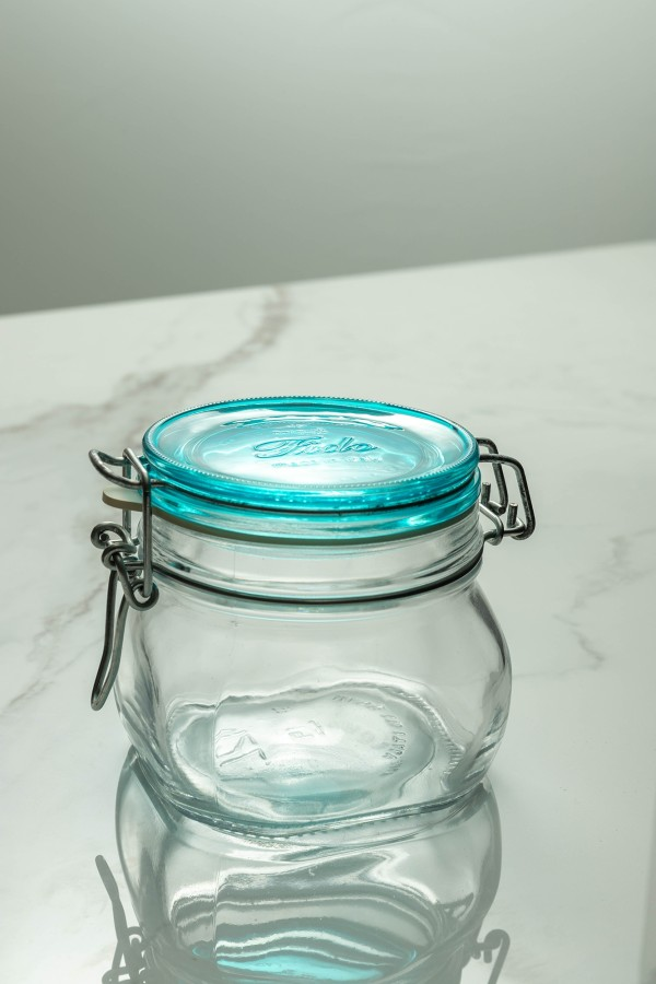 Fido Glass 500ml (Clear/Aqua Blue Lid)