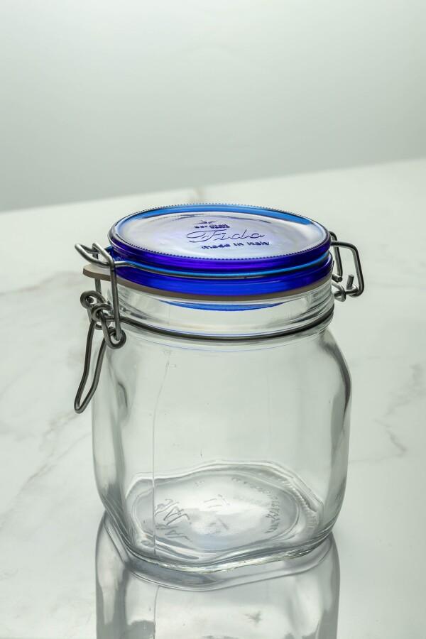 Fido Glass Jar 750ml (Clear/Navy Blue Lid)