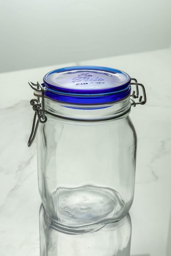 Fido Glass Jar 1000ml (Clear/Navy Blue Lid)