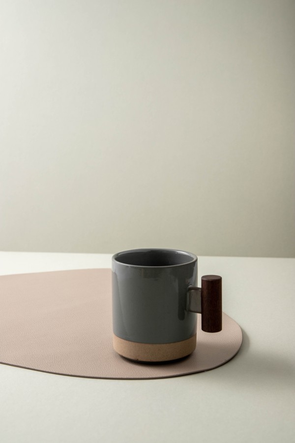 Kaori Mug with Wooden Handle (Dusty Blue)