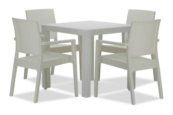 Landon Outdoor Dining Set in White (1+4)
