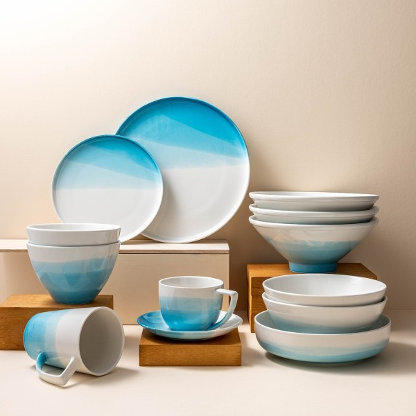 Elske Ombre 8-Piece Porcelain Dinnerware Set (Sky Blue)