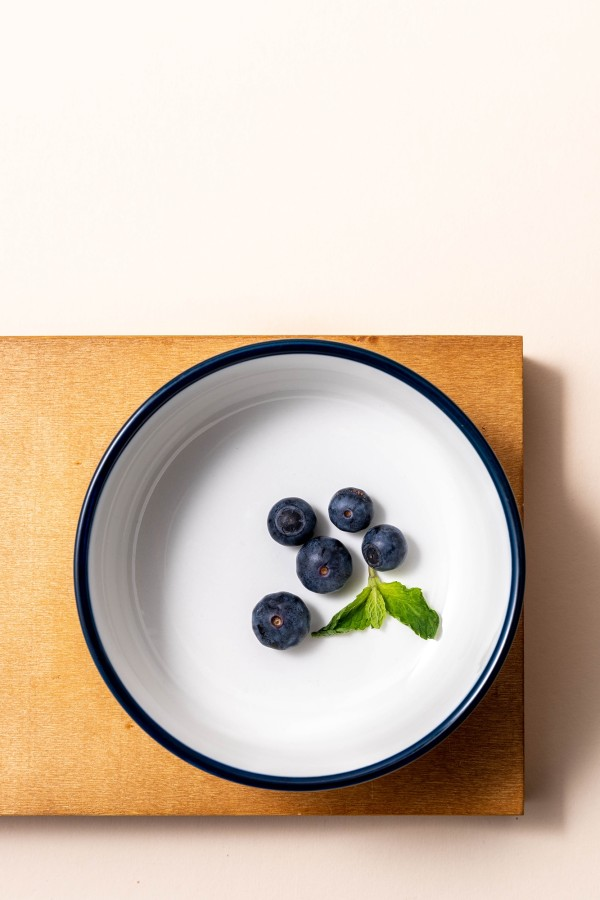 Freja Snack Bowl (White/Navy Blue)