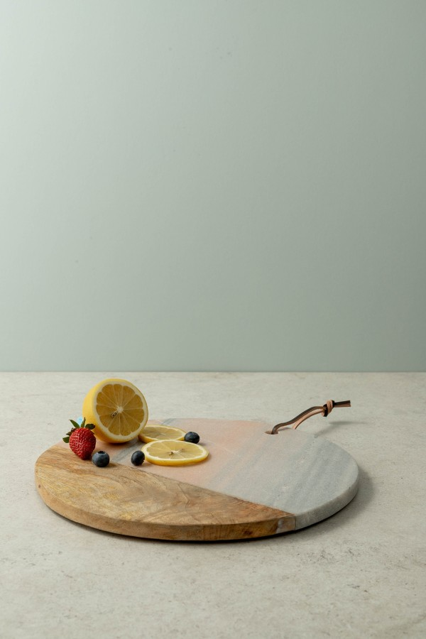 Jemma Round Serving Board (Marble/Wood)