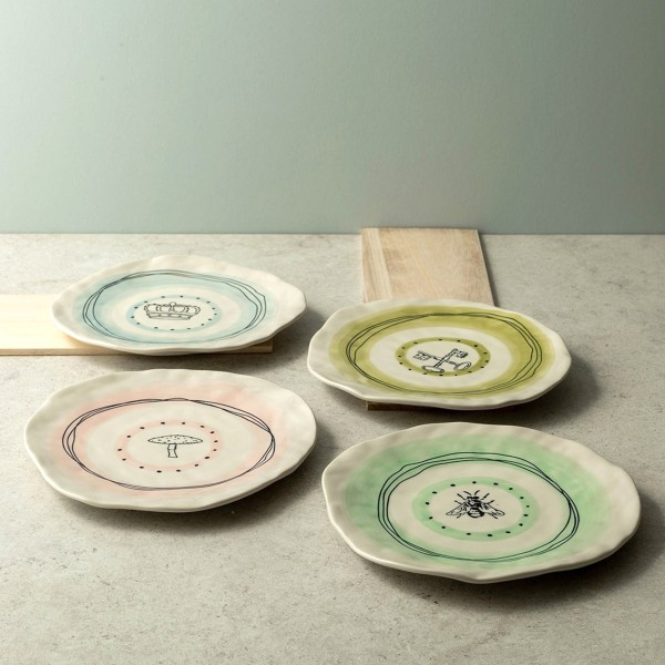 Calla 4-Piece Hand-Painted Dessert Plates