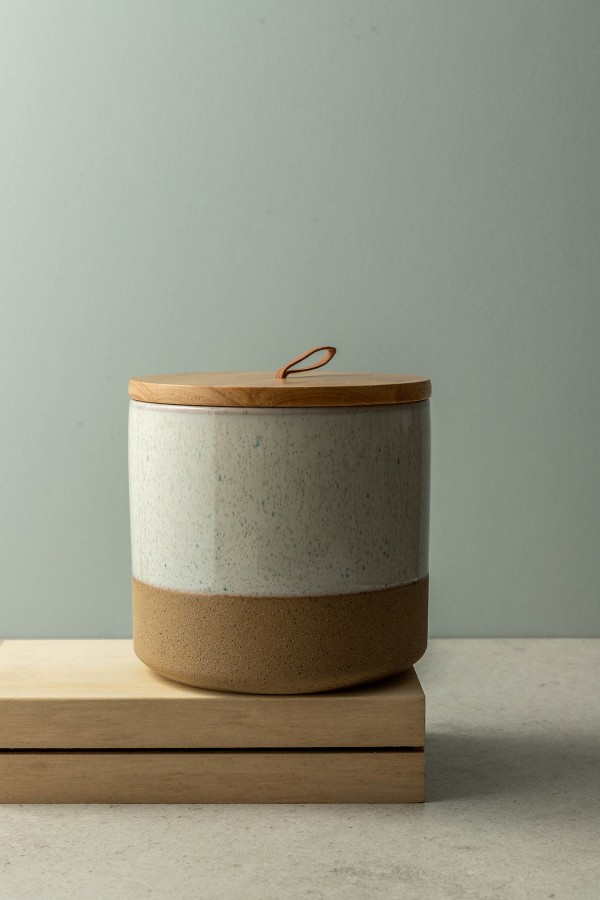 Leah Medium Canister With Wood Lid (Cream)
