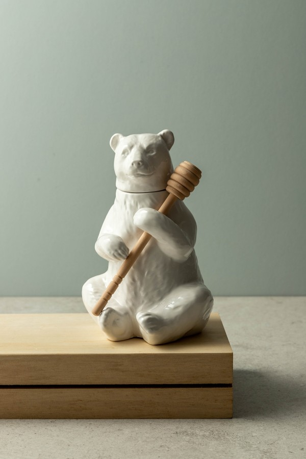Jonas Bear Honey Pot (White)