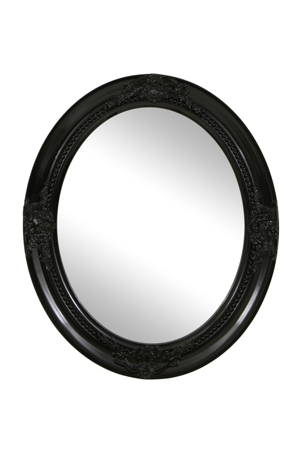 Veral Oval Hanging Mirror Black 63cmx52cm