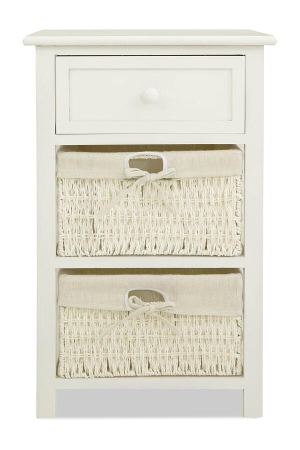 Aetti Wicker Basket Wooden Storage Cabinet (White)