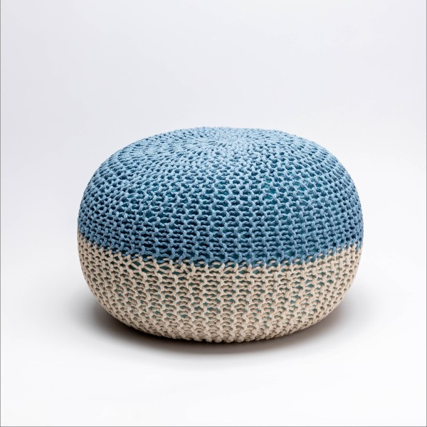 Tumelo Knitted Pouffe (Light Blue/Beige)