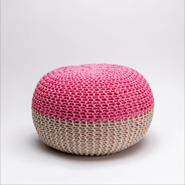 Tumelo Knitted Pouffe (Hot Pink/Beige)