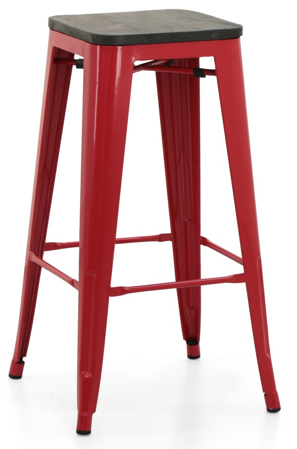 Retro Metal Bar Stool with Wooden Seat (Red)