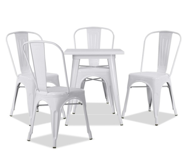 Tolia Metal Bistro Table Set in White