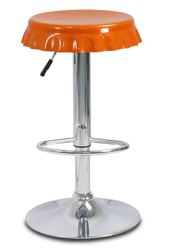 Bottle Cap Bar Stool (Orange)